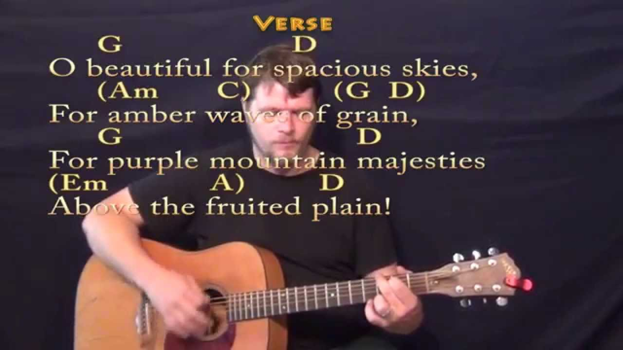 America The Beautiful Strum Guitar Cover Lesson With Chordslyrics