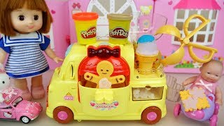 Baby doll cookie car play doh maker toys and picnic play
