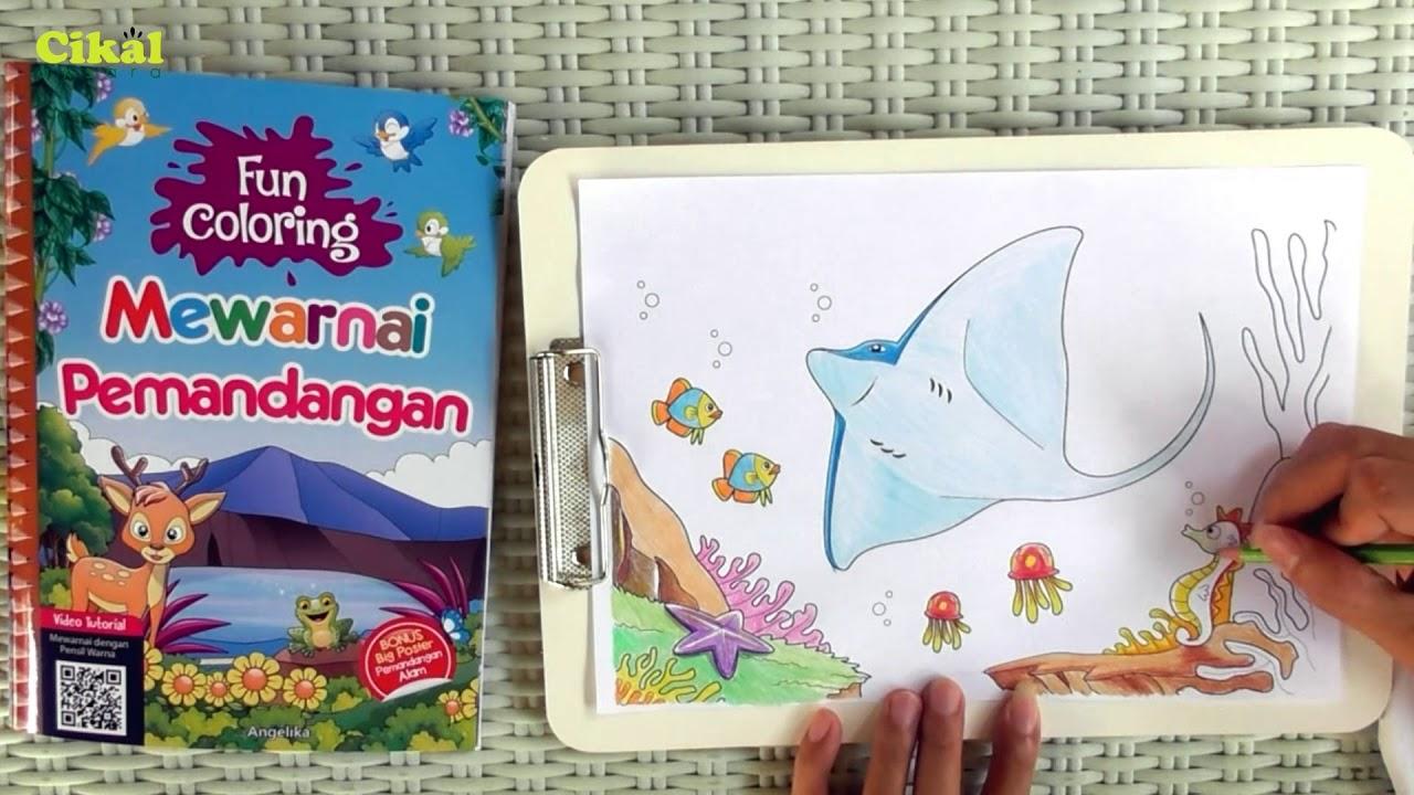 Mewarnai Pemandangan Laut Dengan Pensil Warna Youtube