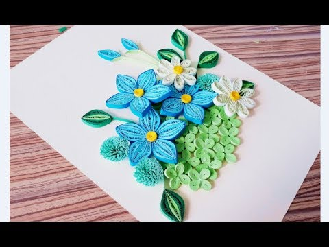DIY Paper quilling Flower Card Design 32 // Quilling flower card // Greeting Card