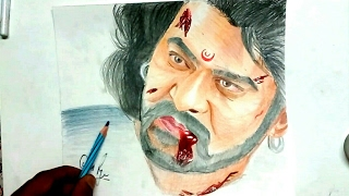 Drawing Bahubali (Prabhas) with pencil colors- Drawing Prabhas- #celebrity Portrait 7