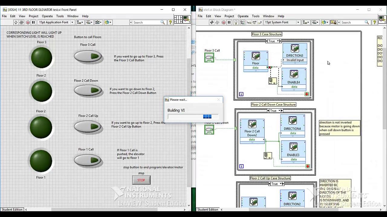 Labview - Programming a 3 Floor Elevator Using MyDAQ-MySTEM