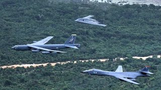 B-1, B-2, B-52 Fly Together In A Massive Show Of Force – Integrated Bomber Operation