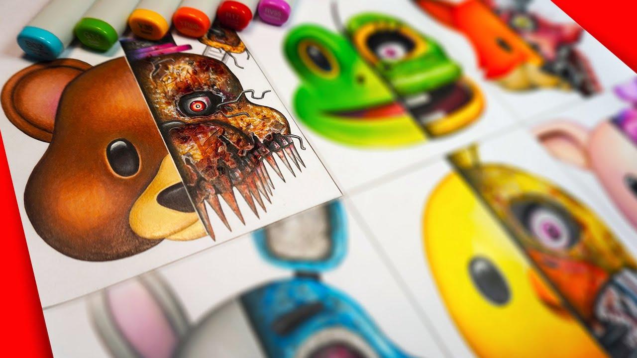 HORROR Artist Draws CUTE Animal Emojis in SCARY FNAF Style 🐻