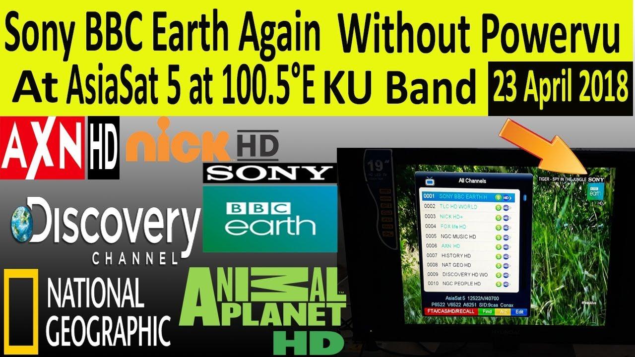 Sony bbc earth Powervu Change AsiaSat 5 at 100 5° KU Band
