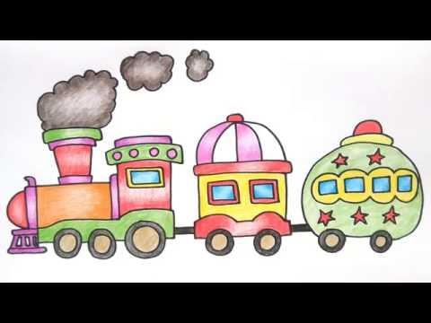 รถไฟ สอนวาดรูปการ์ตูนน่ารักง่ายๆ ระบายสี How to Draw Train Cartoon for Kids