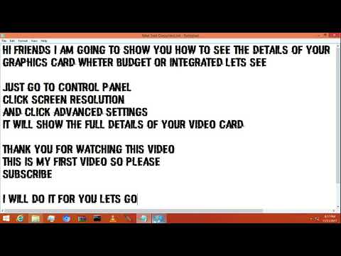 How to see your graphics card details and name .-S.S.A