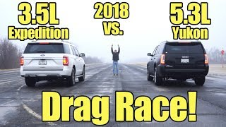 2018 Ford Expedition vs GMC Yukon Drag Race!  Compare these SUV's with a Kunes Country Prize Fight!