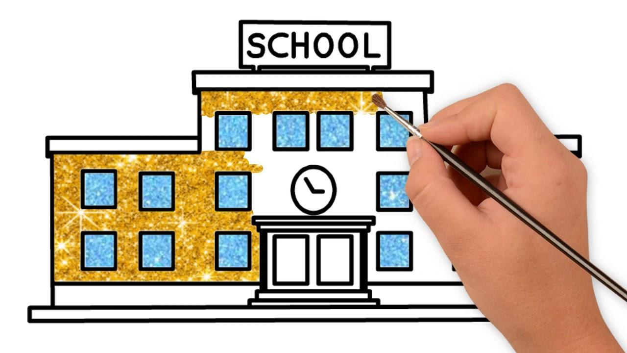Vẽ tranh Ngôi trường của em/How to Draw My school – Vẽ Tranh Màu Kim Tuyến.
