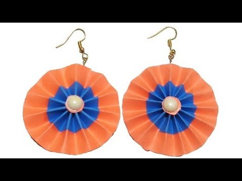 Paper earrings   How to make paper earrings at home   step by step   Jewellery making
