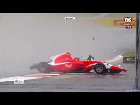 GP3 2016. Race 2 Red Bull Ring. Tatiana Calderón, Jake Dennis, Charles Leclerc Crashes