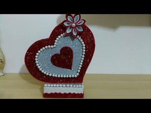DIY Paper Heart Showpiece    DIY-Gifts Ideas    How to Make Glitter Foam Sheet Heart Showpiece
