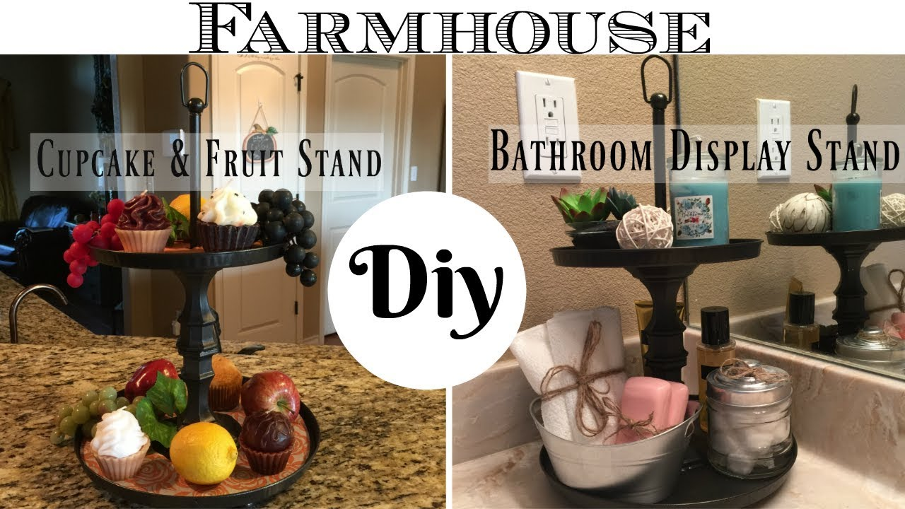 Diy Dollar Tree Farmhouse Style 2 Tier Display Stand For Kitchen Or Bathroom