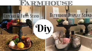 DIY Dollar Tree Farmhouse Style 2 Tier Display Stand | For Kitchen or Bathroom
