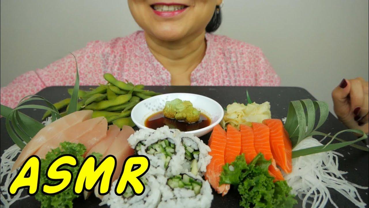 ASMR Sockeye Salmon & Tuna Sashimi + Sushi | Eating Sounds | Light Whispers | Nana Eats