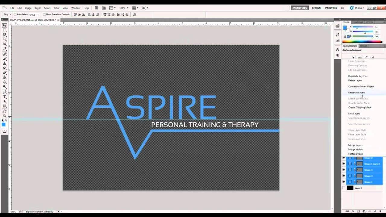 Aspire Personal Training business card Design Speed Art by Yarm