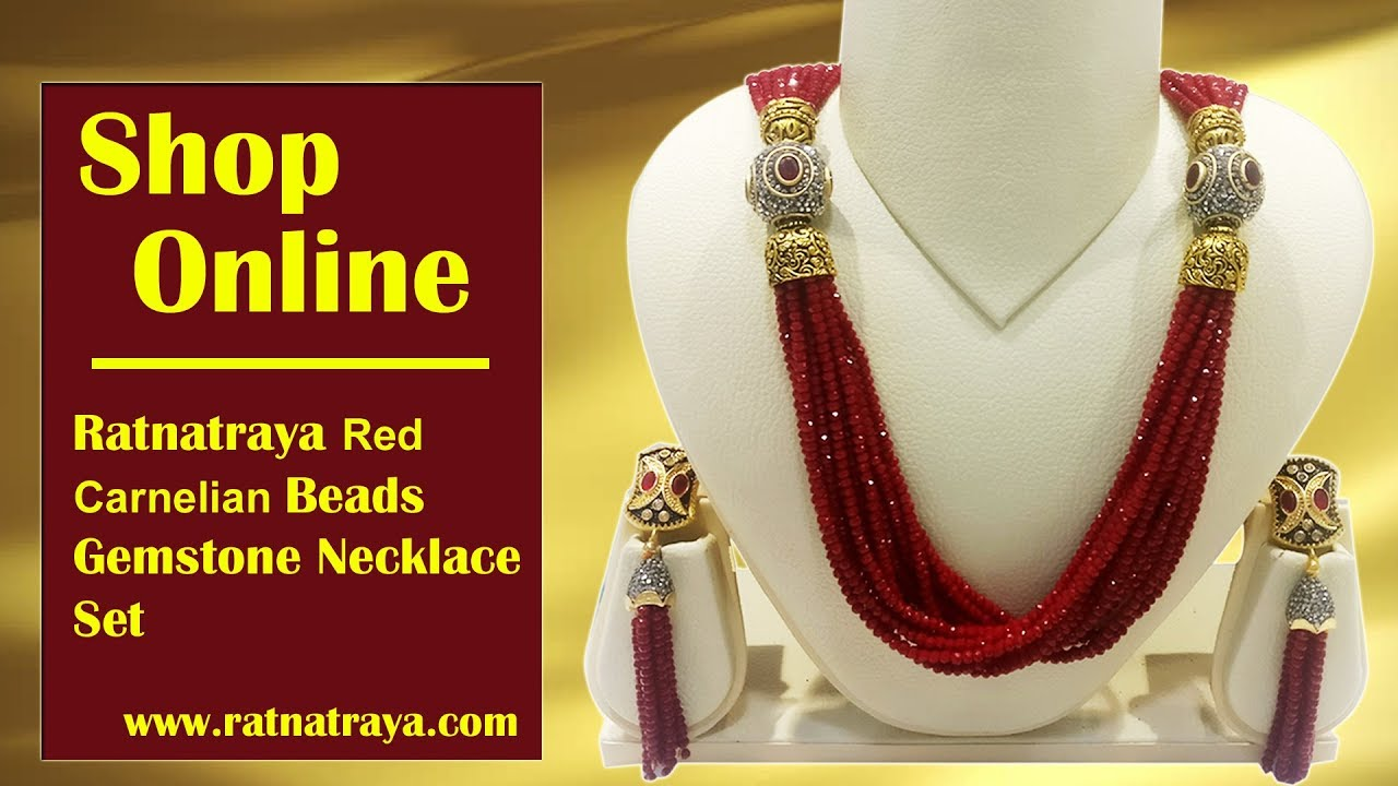Ratnatraya Jewellery Shop Online For Red Carnelian Necklace Set Ratnatraya Com