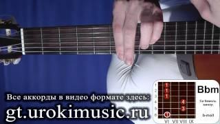 Си бемоль минор. Аккорд Bbm. b-moll. Позиция 6. Бесплатные уроки гитары.