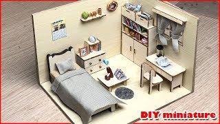 DIY miniature doll house bedroom #2 A warm room have bed, bookshelf, tea table... / Tinyland