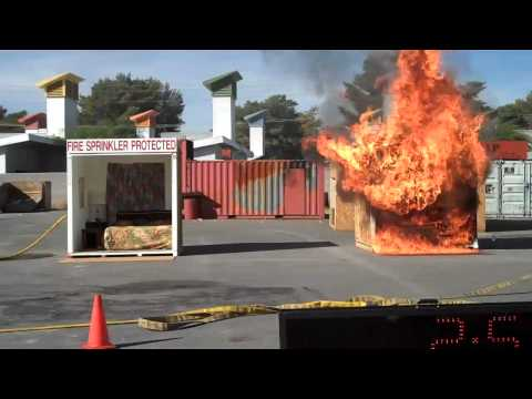 Home Fire Sprinkler Live Burn Demonstration by Las Vegas Fire Department