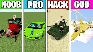 Minecraft Battle: FAMILY CAR CHALLENGE! NOOB vs PRO vs HACKER vs GOD in Minecraft Animation