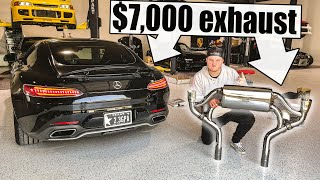homepage tile video photo for Taking delivery of my $7,000 Mercedes AMG GTS exhaust!! (Full Turbo-Back!)