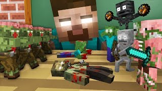 Monster School : TINY ZOMBIE APOCALYPSE CHALLENGE - Minecraft Animation