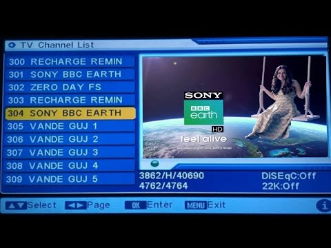 Sony BBC EARTH ON MPEG 2 LIVE, AUTO SCAN ON DD FREE DISH, PAID CHANNEL ON  DD FREE DISH, PAID CHANNEL
