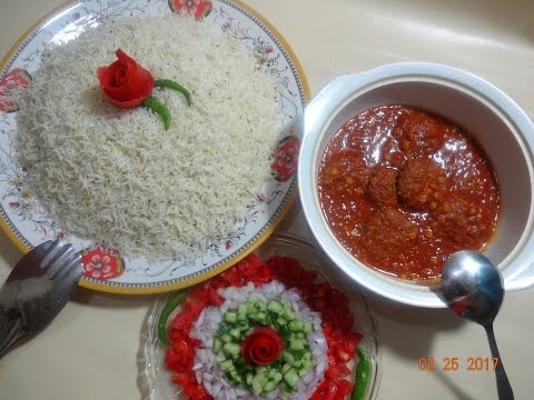 Kofta Challow (Afghan Meatballs With Rice) – Mutton Kofta Curry Recipe – کوفته چلو خوشمزه افغانی