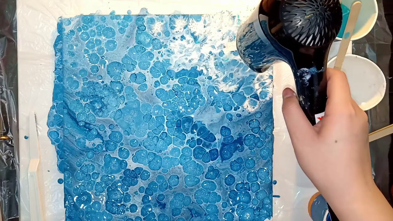 Vẽ sóng bằng màu Acrylic Lỏng – Drawing waves with pouring acrylic   Lobeo ( Lỗ Béo )