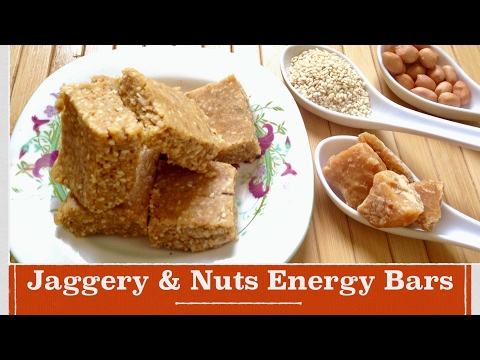 Healthy jaggery & nuts energy bars/ how to make best jaggery and nuts energy bars at home