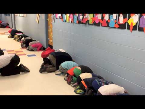 Witness a tornado drill at Hunter Elementary