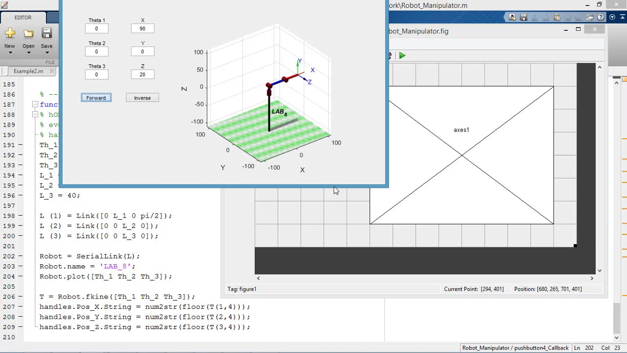 Using [peter corke] robotics toolbox with Matlab GUI - Forward and Inverse  kinematics