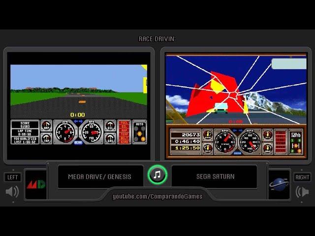 Race Drivin' (Sega Genesis vs Sega Saturn) Side by Side Comparison
