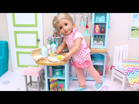Baby Dolls baking in the kitchen! Play Toys cooking stories for kids