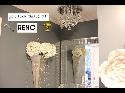 GLAM POWDER ROOM || REVEAL || BEFORE & AFTER || QT HOME DECOR