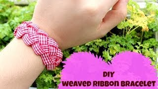 DIY weaved ribbon bracelet