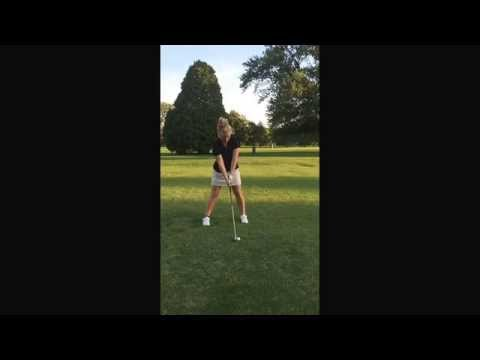 Straight Arm golf training aid, women swings after practicing using Straight Arm, straightarm.net