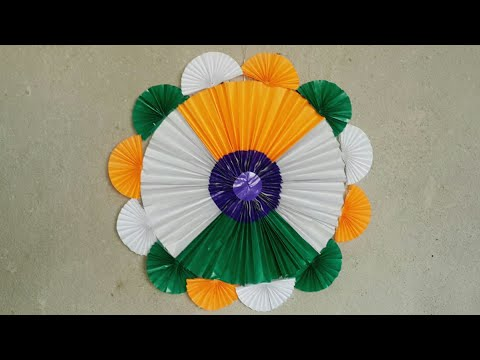 Diy Tricolor Independence day craft .Independence day wall hanging decoration idea.  Paper craft.