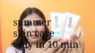 Summer morning skincare routine|morning skincare with affordable product|skincare under 10 min|