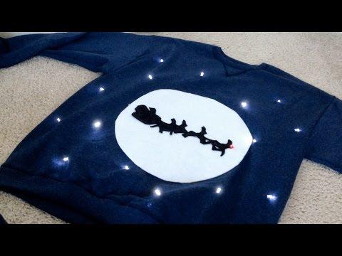 DIY Ugly Christmas Sweater (Santa Sillhouette)
