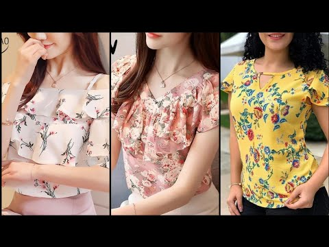 Beautiful Floral Cotton And Chiffon Loose Tops - Latest Tunic Tops For Women