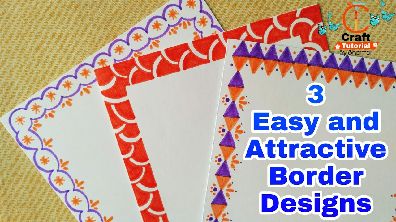 3 Easy And Attractive Border Designs For Greeting Cards Border