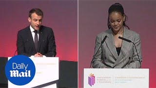 Macron and Rihanna team up to raise money for education - Daily Mail