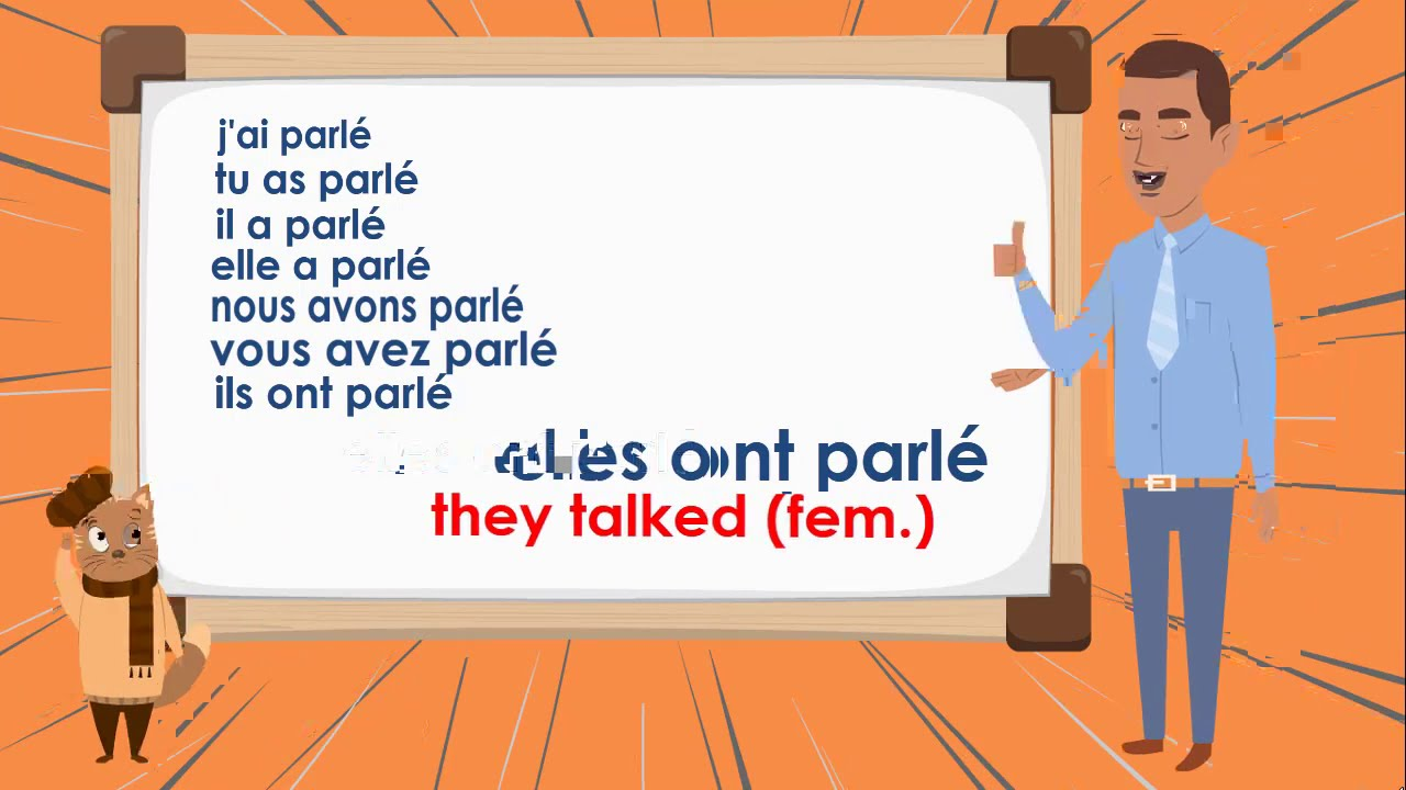 Le Verbe Parler Au Passe Compose To Talk Compound Tense French Conjugation Youtube