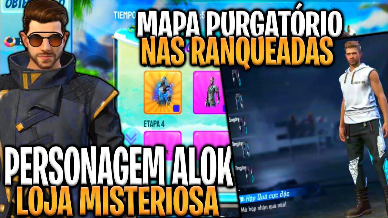ALOK NA LOJA MISTERIOSA 10.0, MAPA PURGATÓRIO DE VOLTA AMANHÃ E CAIXA DA CALÇA ANGELICAL - FREE FIRE