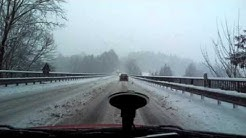 Leaving Passau Shell Tankstelle back to Autobahn A3 on a snowy day 2016.01.04