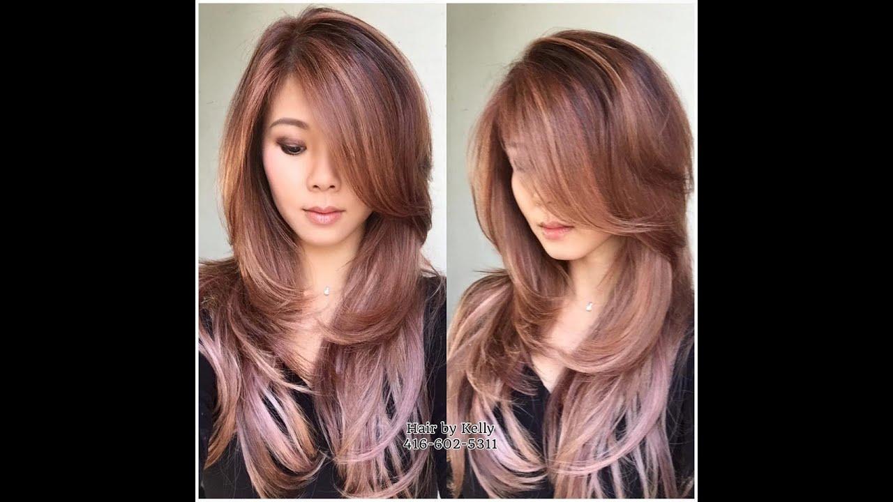 Pink, lilac, purple long layered hair color DIY at home ...