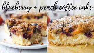 BLUEBERRY & PEACH COFFEE CAKE [VEGAN] | PLANTIFULLY BASED