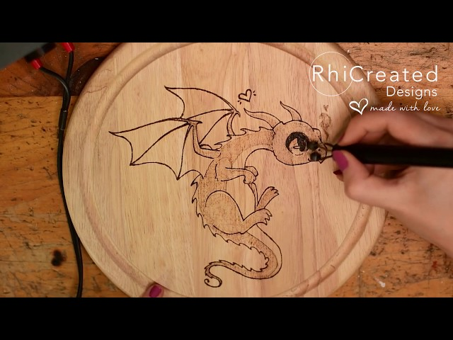 Wood Burned Cute Dragon